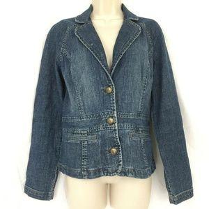 Liz Claiborne Denim Jacket 8 Retro Boho Rawhide La